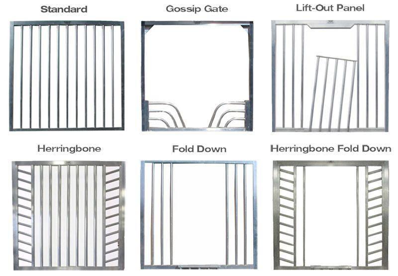 Six different horse stall door top styles.