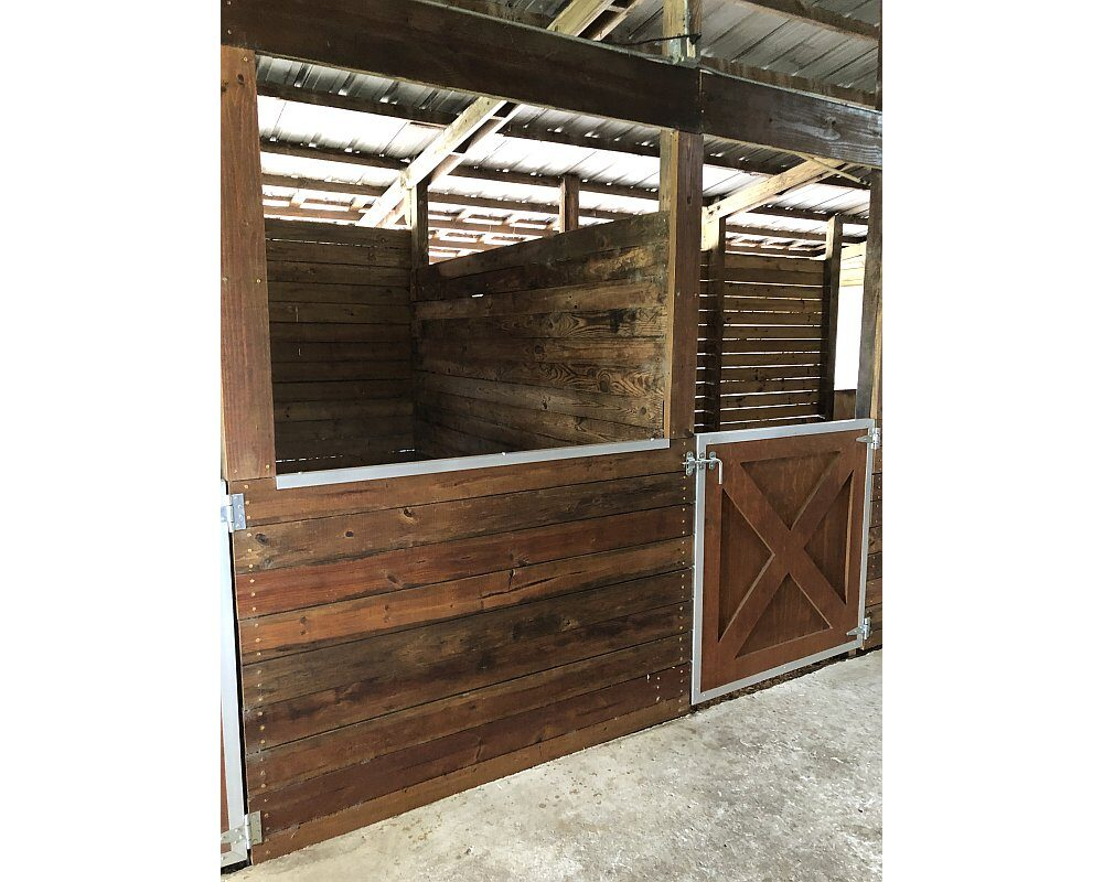 Horse Stall Front with Crossbuck Sliding Door with Spring Loaded Fold Down Panel and Horse Stall Front Grill.